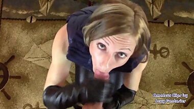 POV Glove Handjob and Blowjob until Cumshot in Long Leather Gloves