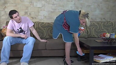 Son forced stepmom while doing work
