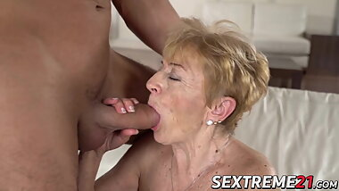 Nasty granny Malya seduced and banged by hard young cock